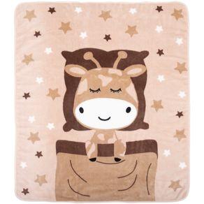 Cobertor-Fleece-Girafa-Bege