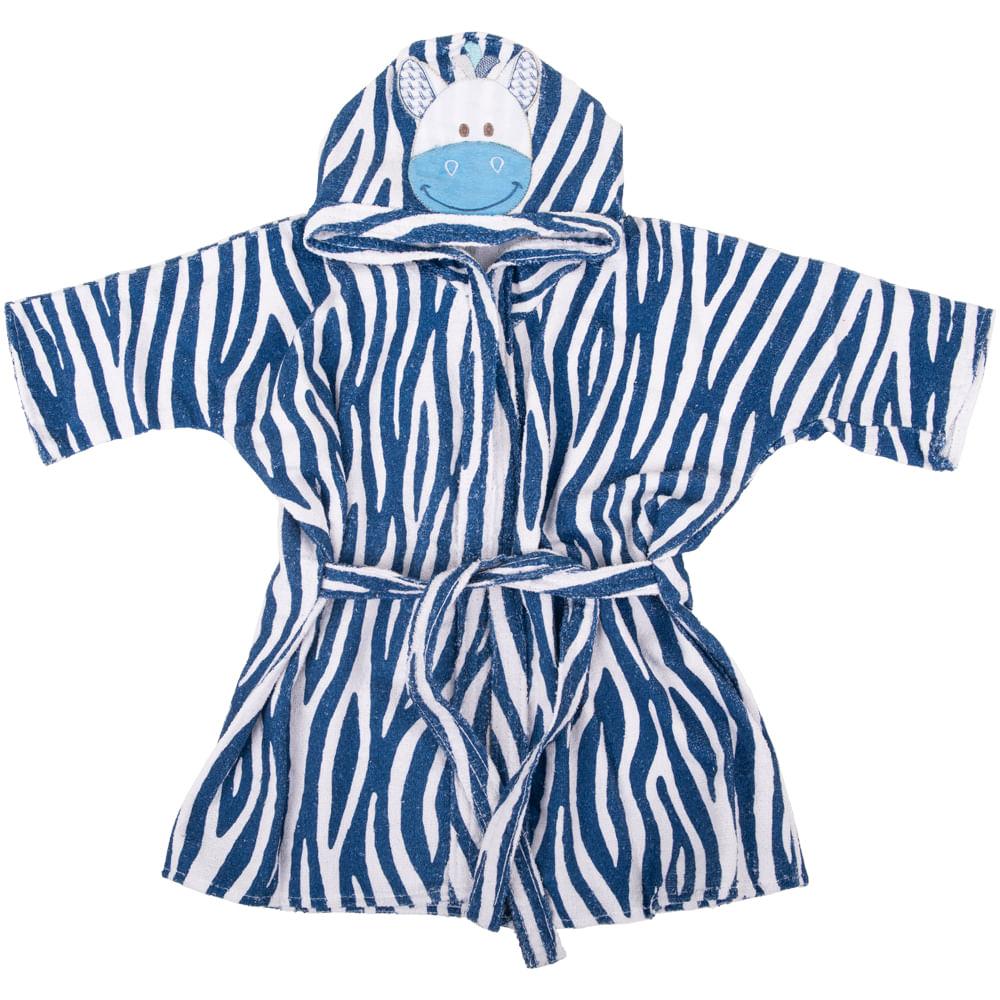 675f6865bdb1eb Roupão com Capuz Bichinhos Zebra Azul Marinho - Loja Baby Joy ...