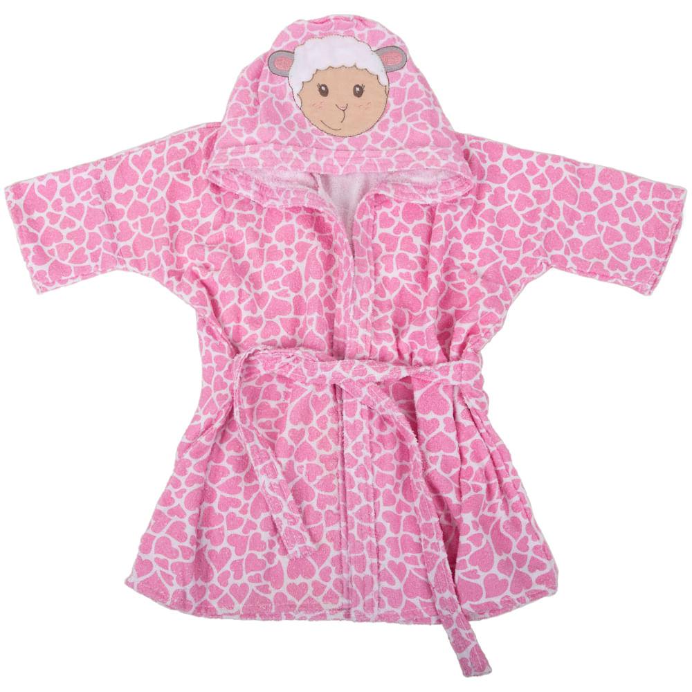 81a767c54734a5 Roupão com Capuz Bichinhos Ovelha Rosa- Loja Baby Joy Artigos para ...