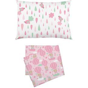 jogo-de-lencol-de-malha-para-carrinho-bambi-2-pecas-baloes-rosa